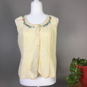 Vintage Yellow Embroidered tank top